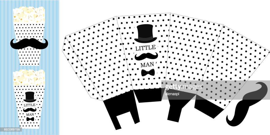 Popcorn paper box. Printable template for little man's birthday(baby shower boy) party.