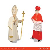 Pope and Cardinal catholic couple. Flat 3d isometric web site vector illustration. People in traditional costume collection.