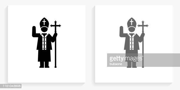 papst schwarz-und weiße quadrat ikone - papst stock-grafiken, -clipart, -cartoons und -symbole