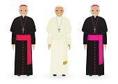 Pope, cardinal and bishop in characteristic clothes isolated on white background. Catholic priests. Religion people.