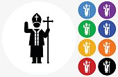 Pope Icon on Flat Color Circle Buttons