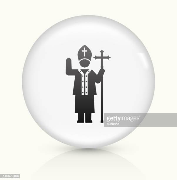 Pope icon on white round vector button