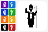 Pope Icon Square Button Set
