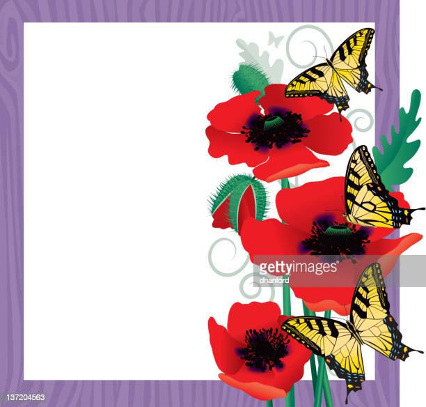Poppies and Yellow Swallowtail Butterflies