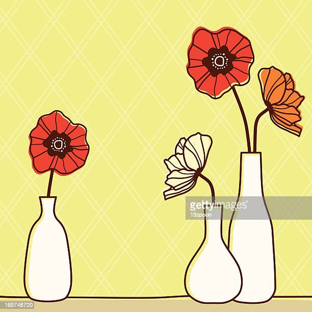 poppy bottles - vase stock illustrations, clip art, cartoons, & icons