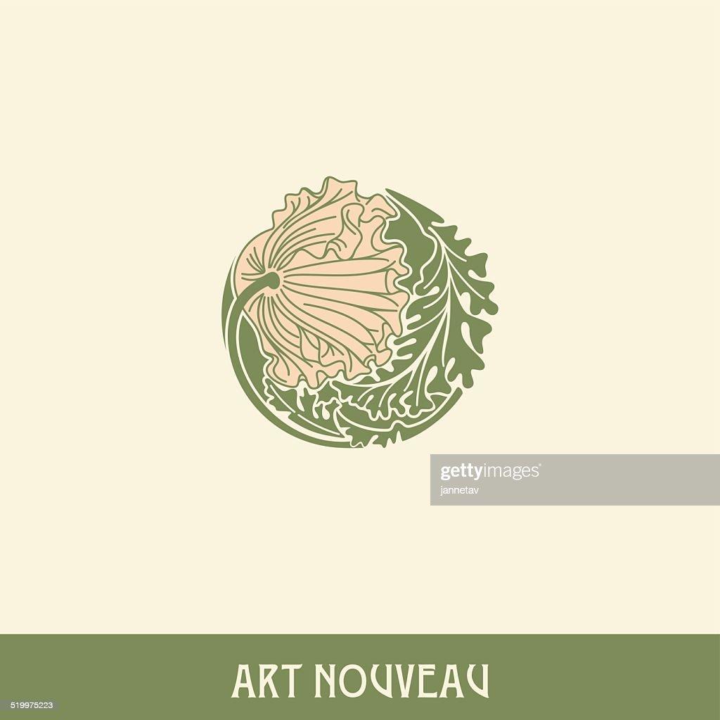 Poppy. Design element in art nouveau style.