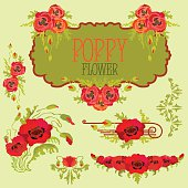 Poppy flower design elements set. Bouquets and garlands