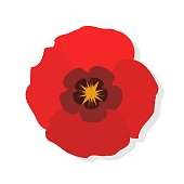 Poppy flower flat icon. Red poppies on white background. Vector Illustration