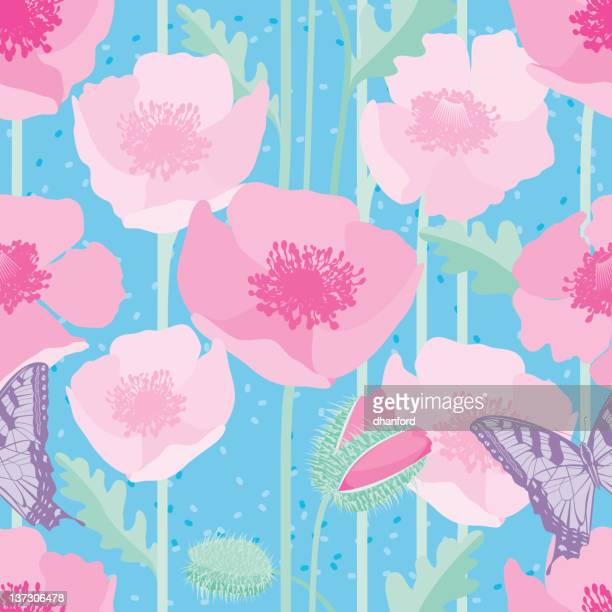 Poppy Seamless Pattern with Butterfly