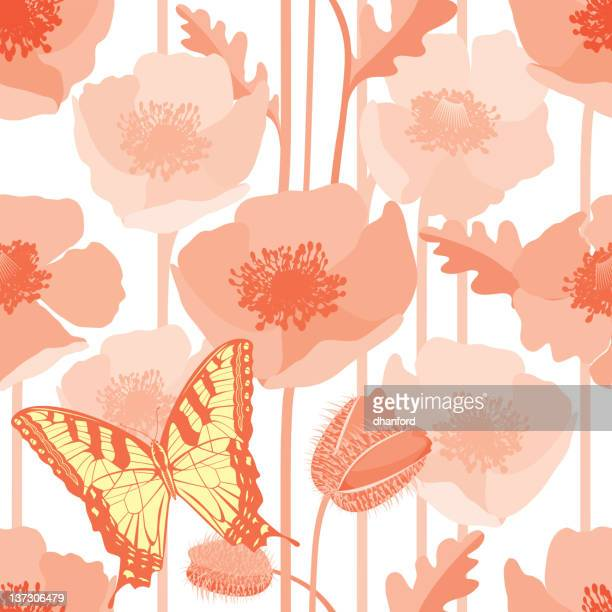 poppy seamless pattern with butterfly - oriental poppy stock illustrations, clip art, cartoons, & icons