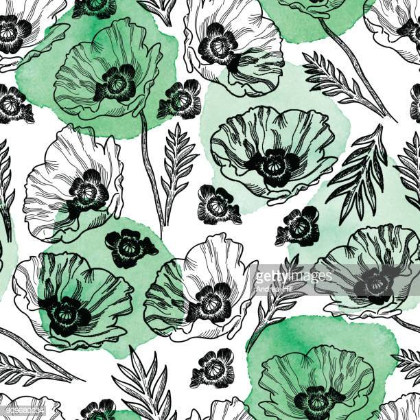 poppy seamless vector pattern - ink drawing with watercolor texture - poppy stock illustrations, clip art, cartoons, & icons