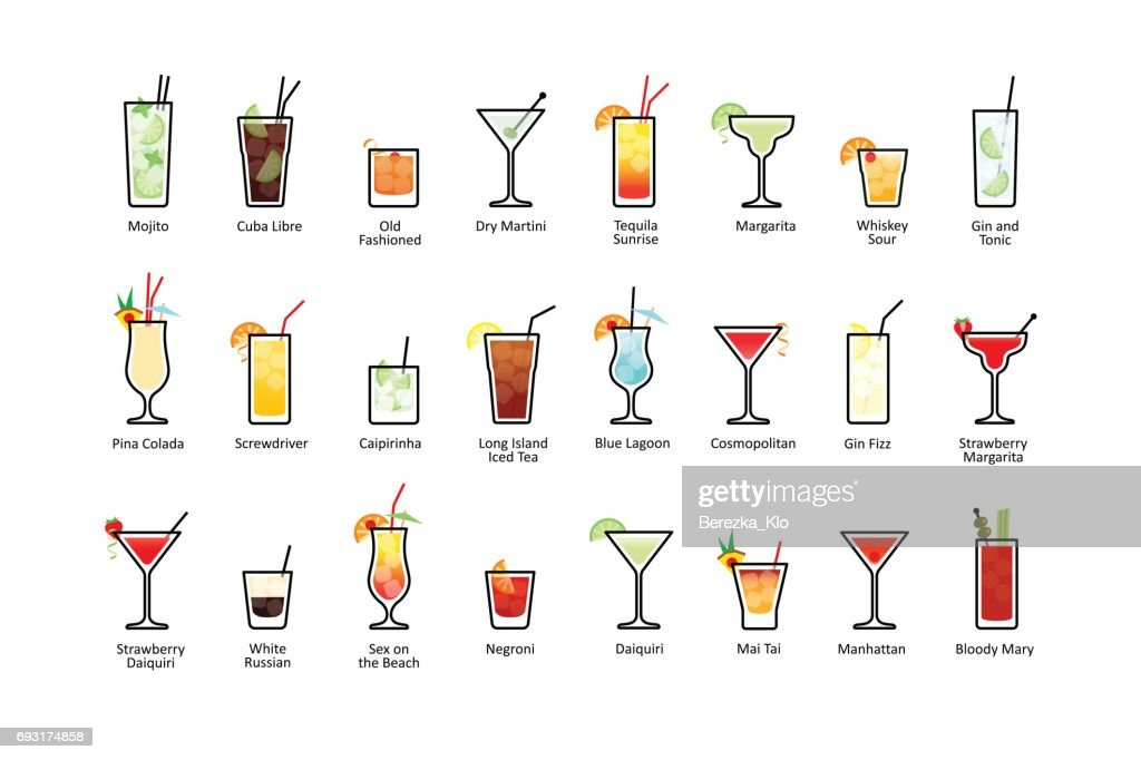 Popular alcoholic cocktails with titles, icons set in flat style