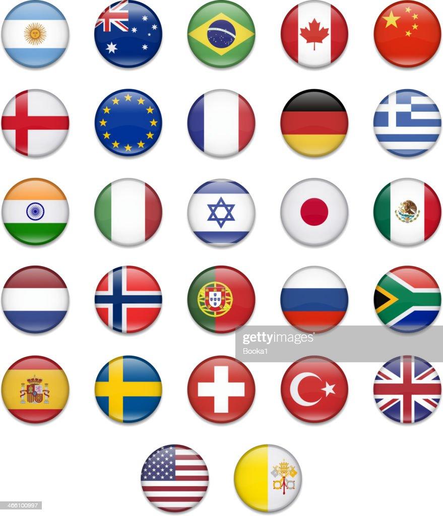 Popular Button Flag Collection