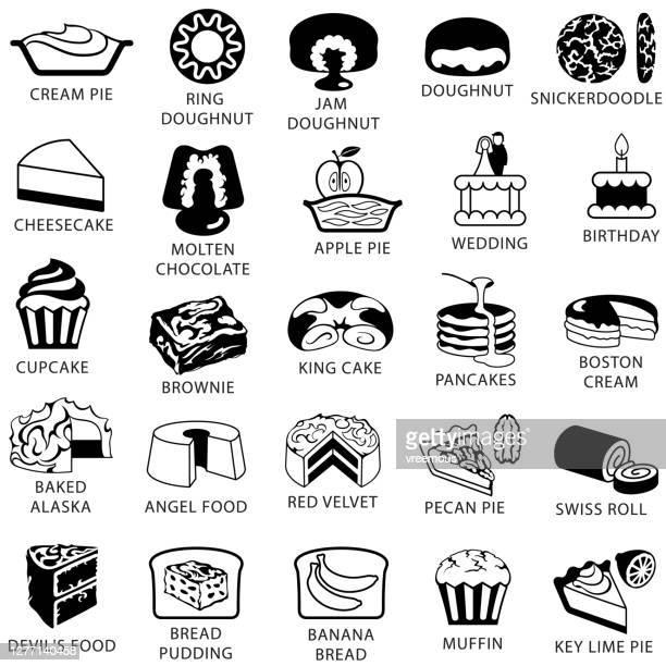 illustrations, cliparts, dessins animés et icônes de icônes populaires de gâteaux et desserts - galette des rois