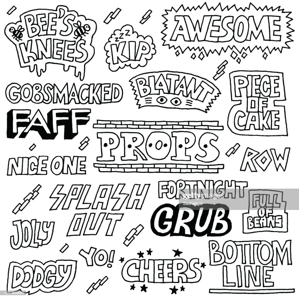 Popular English Language Slang Words Doodle Lettering Set 2 Black and White