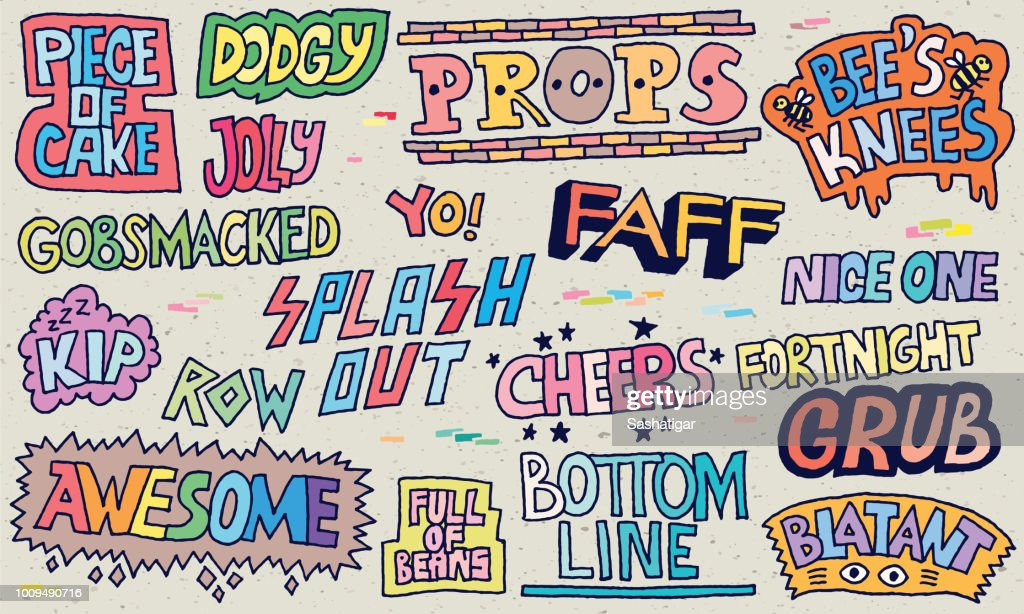 Popular English Language Slang Words Doodle Lettering Set 2 Color With Texture
