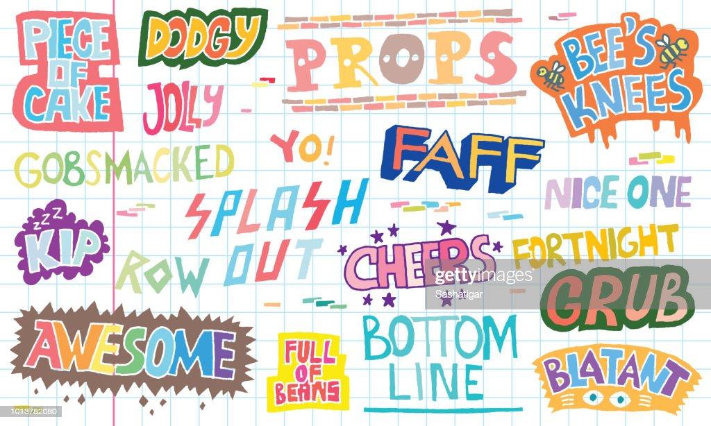 Popular English Language Slang Words Doodle Lettering Set 2 Color Vector Illustration. School Notebook Background.