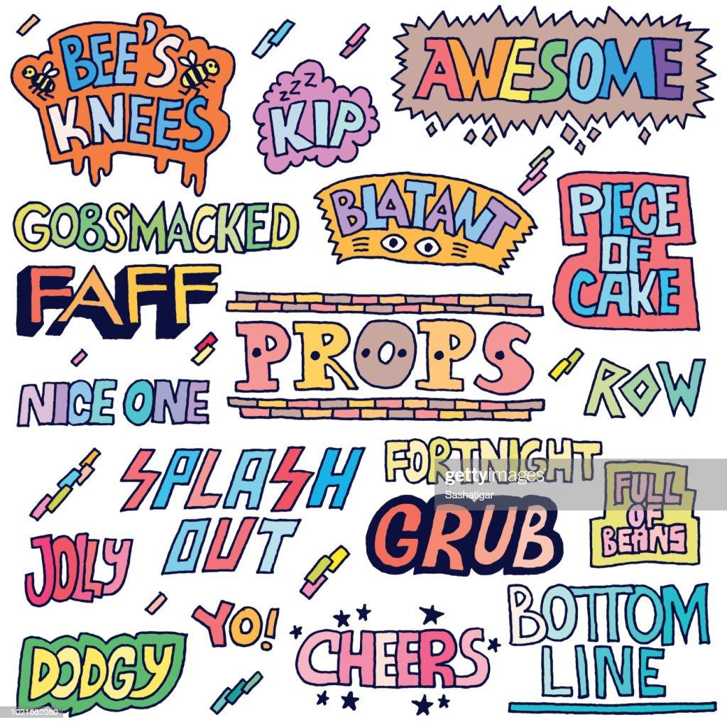 Popular English Language Slang Words Doodle Lettering Set 2 Color