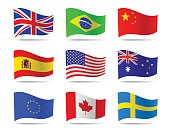 Popular flags vector collection.