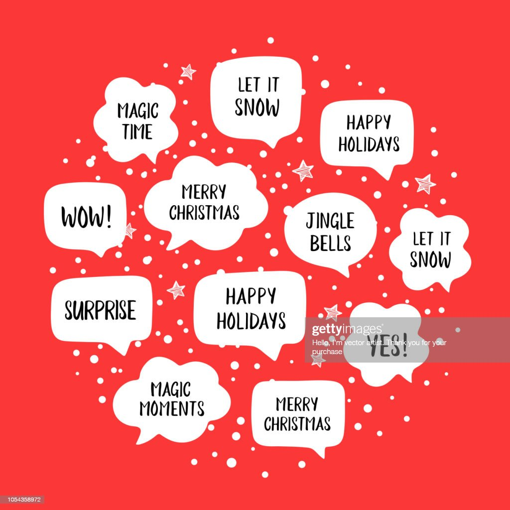 Popular holiday speech bubbles set with christmas greetings: merry christmas, happy holiday, let it snow etc.