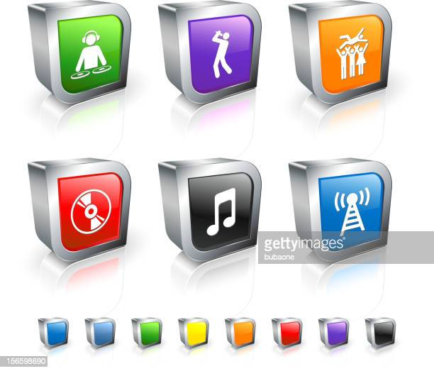 Popular Music 3D vector icon set with Metal Rim
