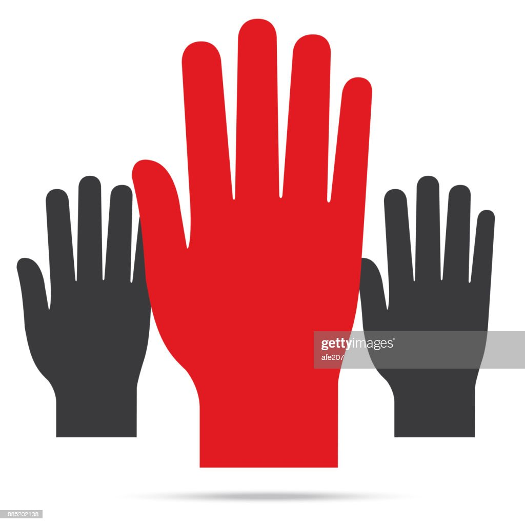 Popular Raise Red Color Left Hand Up Isolated Vector stock vector