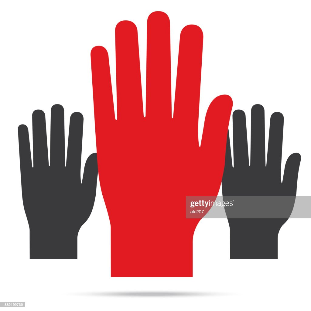 Popular Raise Red Color Right Hand Up Isolated Vector stock