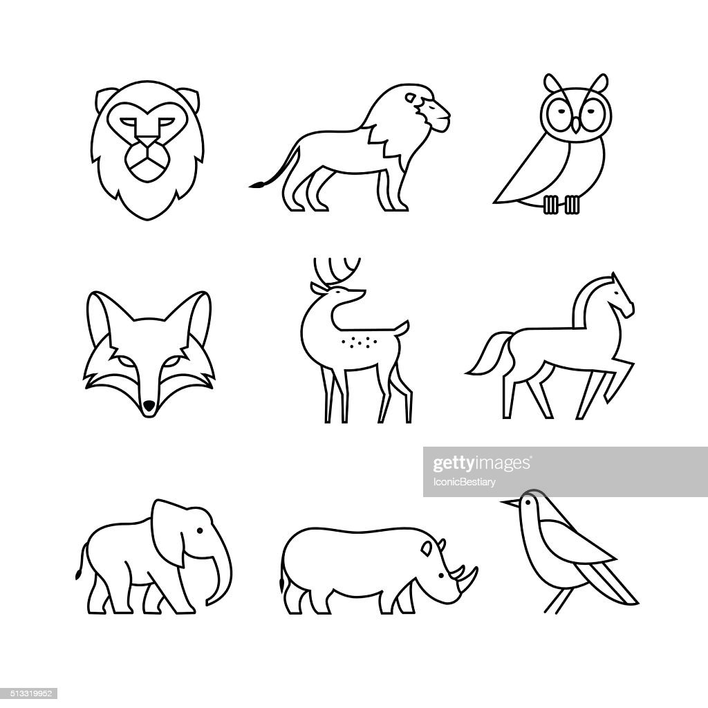 Popular wild life animals thin line art icons set