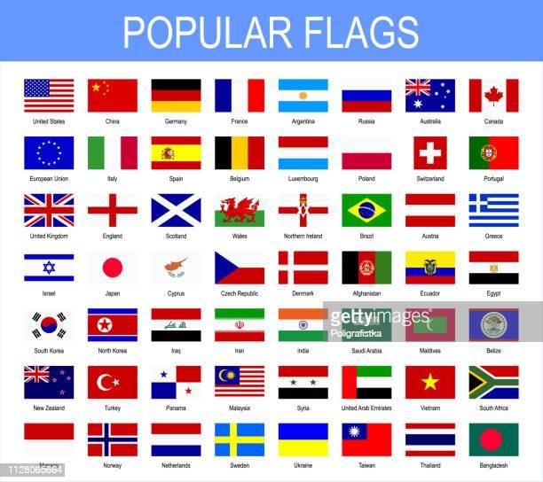 popular world national flags icon set - vector illustration - adulation stock illustrations, clip art, cartoons, & icons