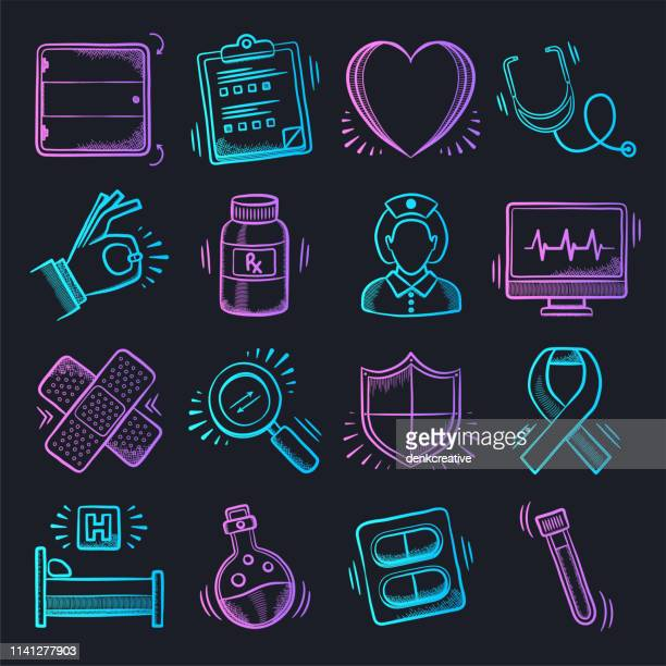 population health management neon doodle style vector icon set - microbiologist stock illustrations, clip art, cartoons, & icons
