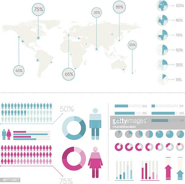 bevölkerung infografic elemente - balkendiagramm stock-grafiken, -clipart, -cartoons und -symbole