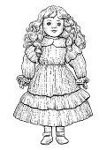 Porcelain doll illustration, drawing, engraving, ink, line art, vector