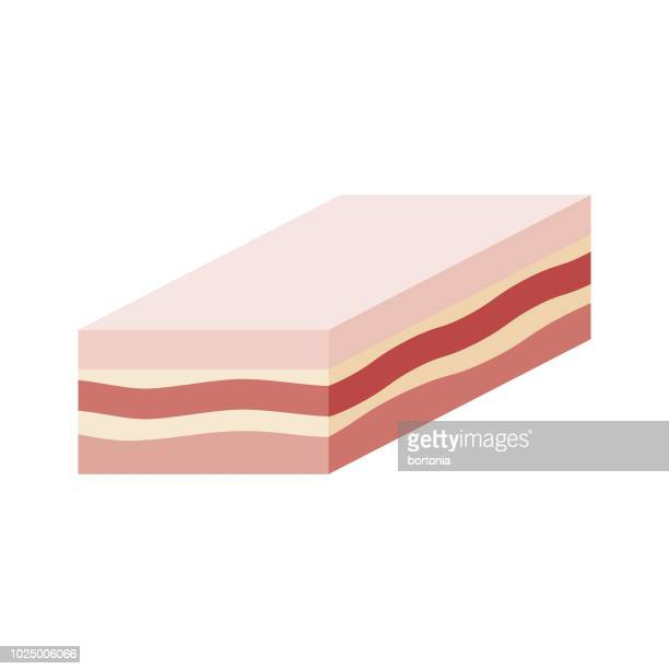 pork belly flat design meat icon - mottled skin stock illustrations