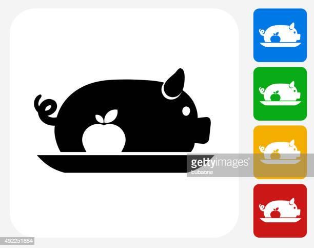 Pork Dish Icon Flat Graphic Design
