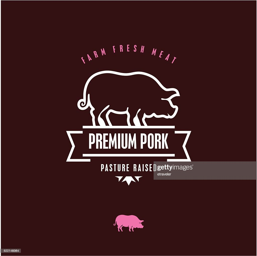 pork vector line label, pig icon