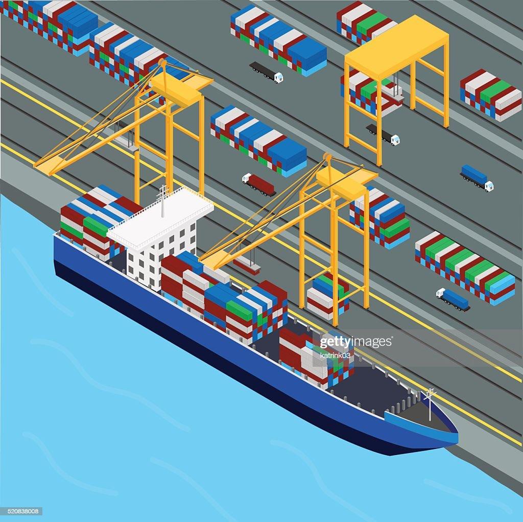 Port, port crane loads the cargo ship containers