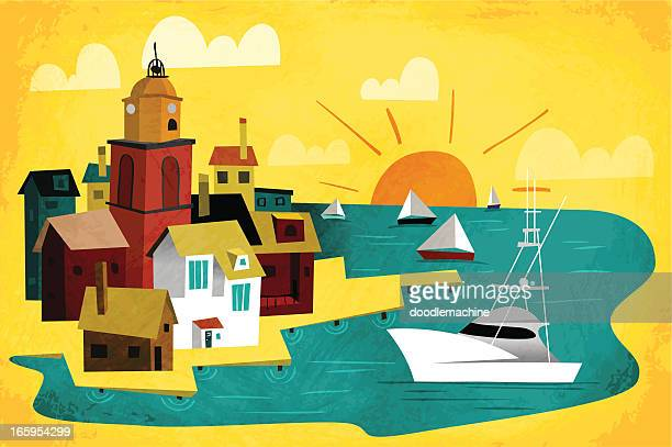port town - pier stock illustrations