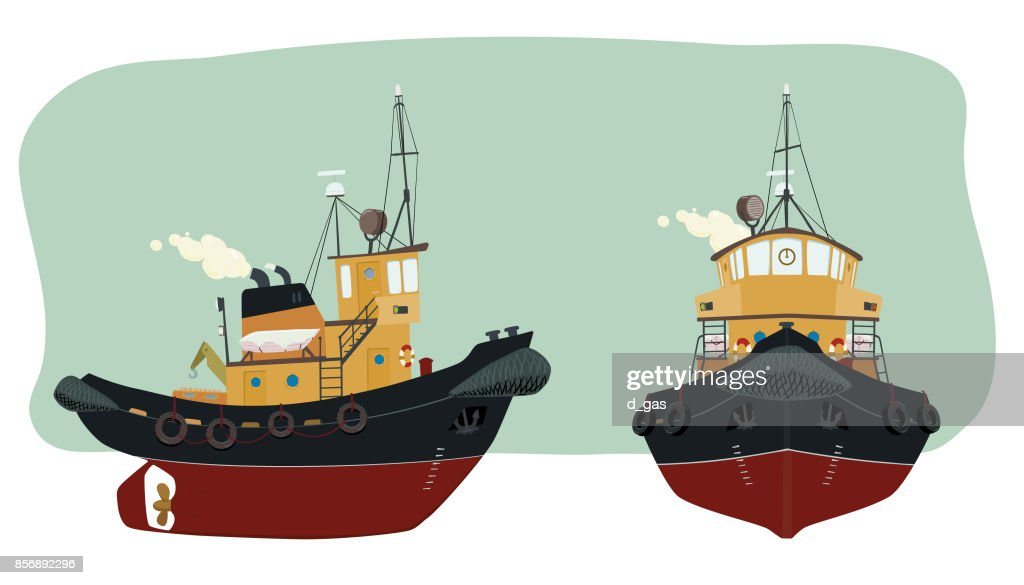 Port tugboat in two perspective
