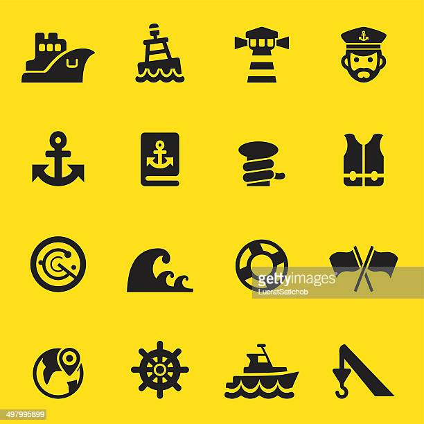 Port Yellow Silhouette icons | EPS10