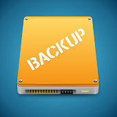 Portable Data Backup Hard Disc Drive Icon