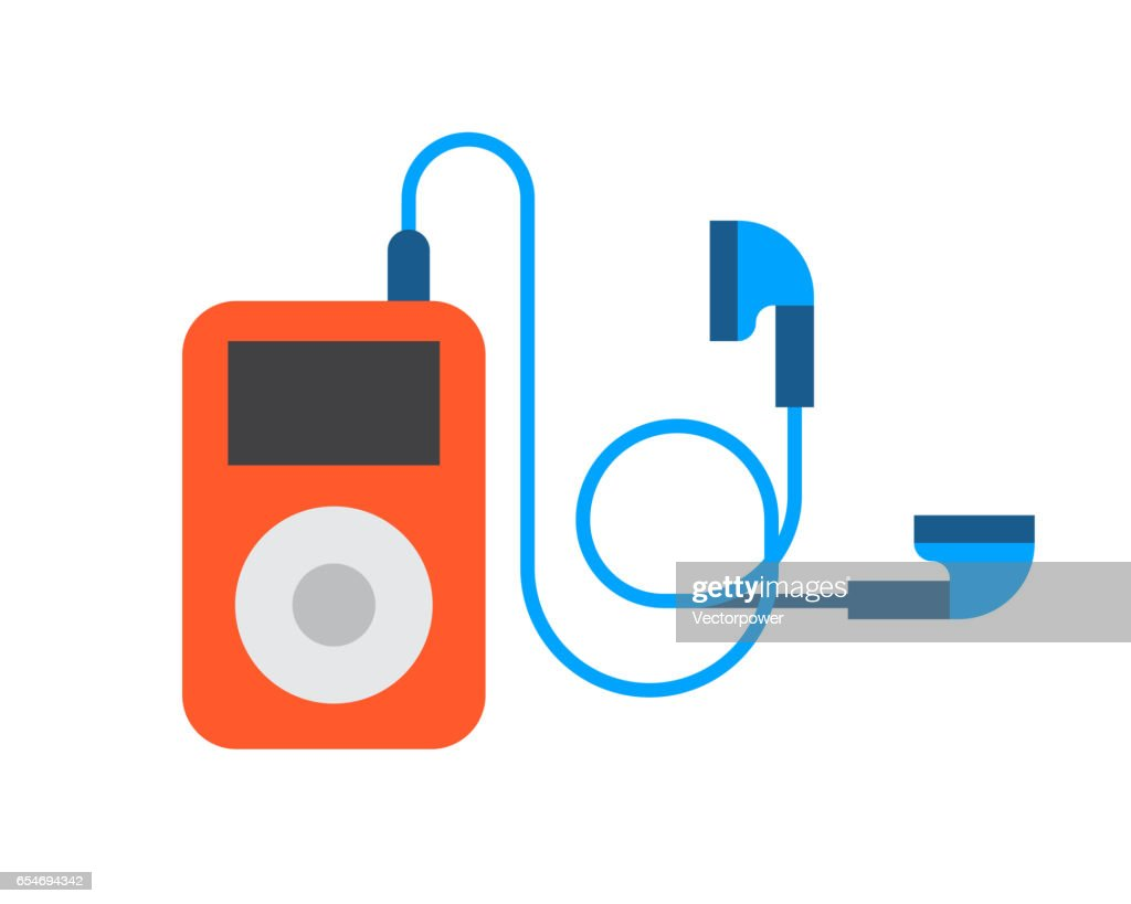 Portable device music player cartoon digital design technology media and communication multimedia stereo button headphones wireless vector illustration