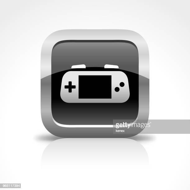 ilustrações de stock, clip art, desenhos animados e ícones de portable game player glossy button icon - portable information device