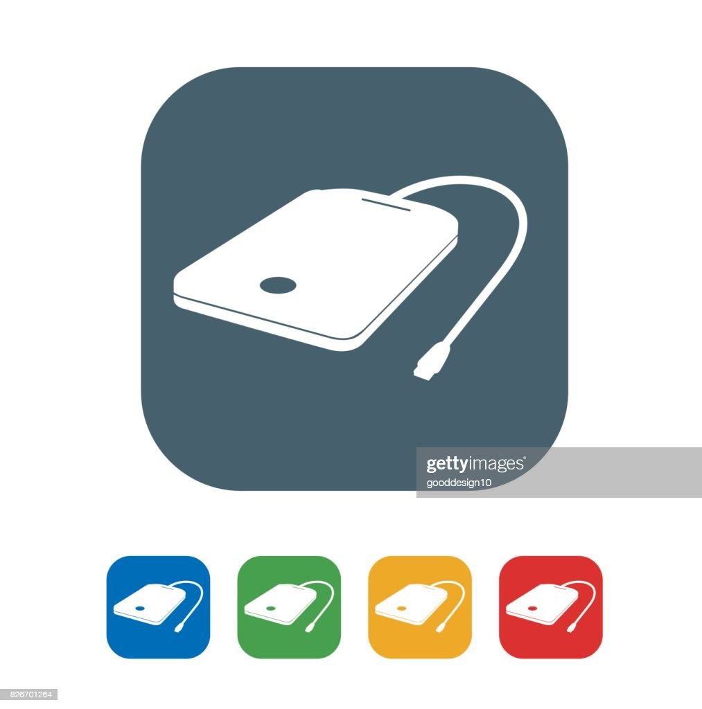 Portable hard disk flat Icon Isolated on White Background.vector illustration icon