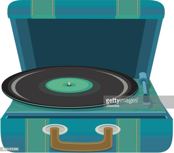 Portable vintage record player in a suitcase