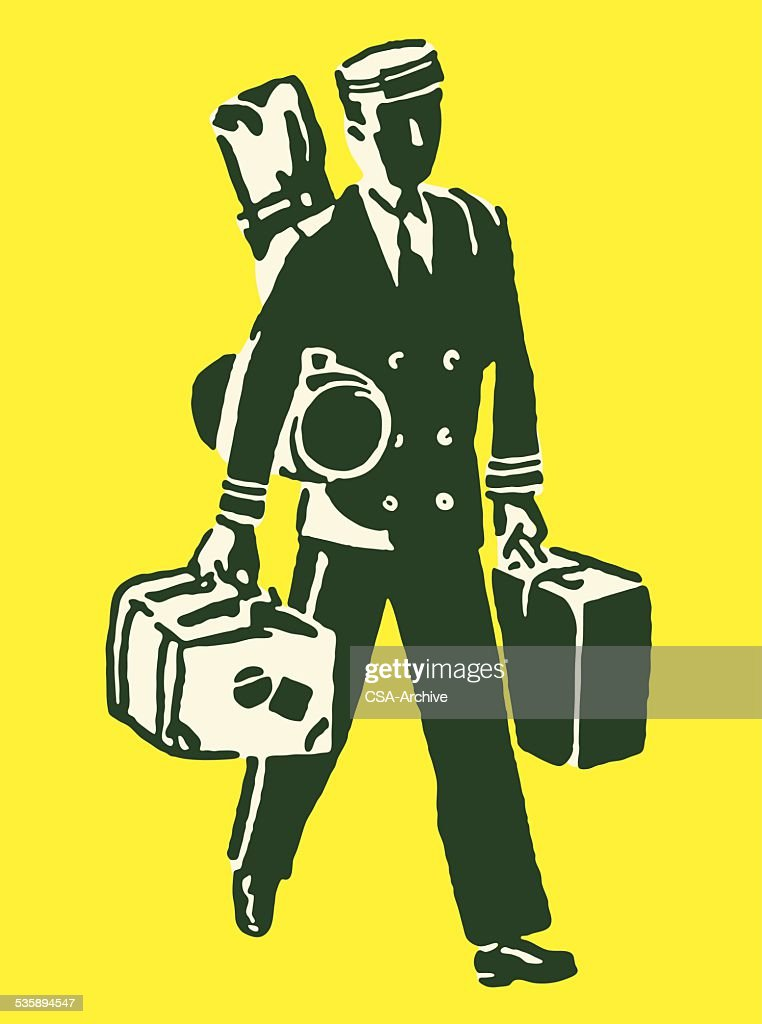 Porter Carrying Luggage : Vector Art