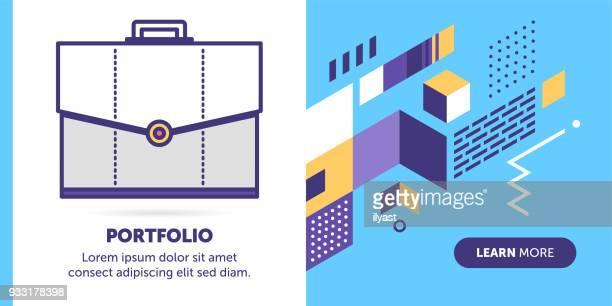 ilustrações, clipart, desenhos animados e ícones de banner de portfólio - portfolio
