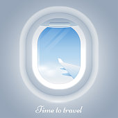Porthole airplane vector illustration. View from the airplane window to the blue sky and wing. Time to travel. Realistic aircraft window. Eps 10.