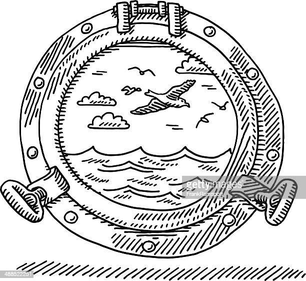 Porthole Seascape Drawing