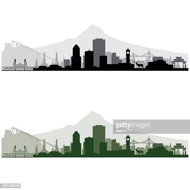 portland cityscape - portland oregon stock illustrations