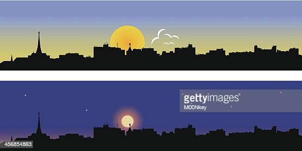 portland day and night - portland maine stock illustrations